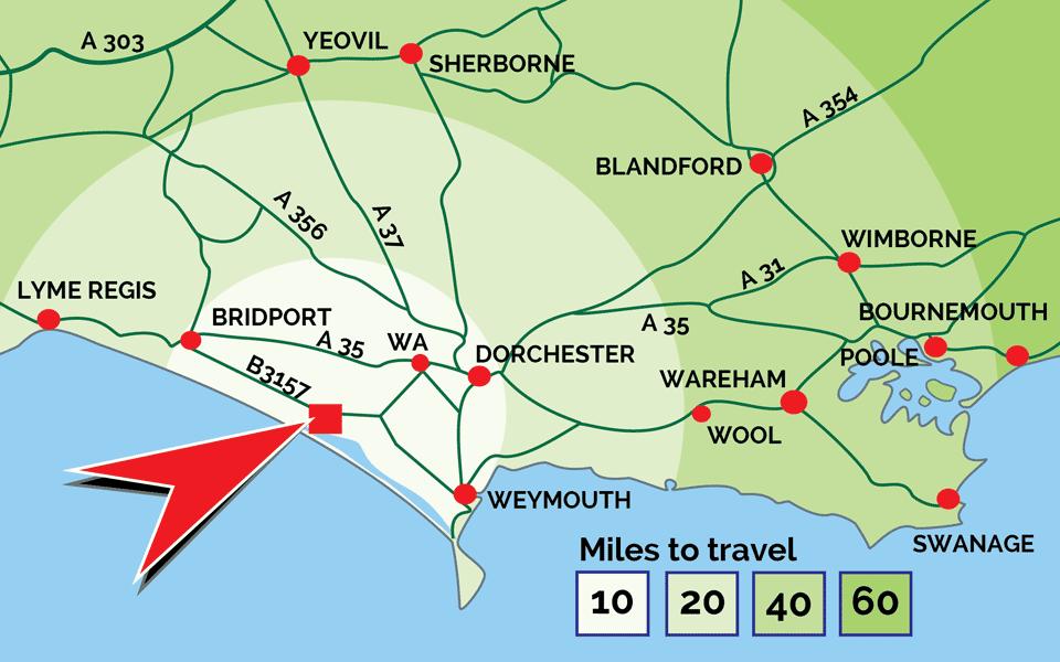 Distance map to Abbotsbury