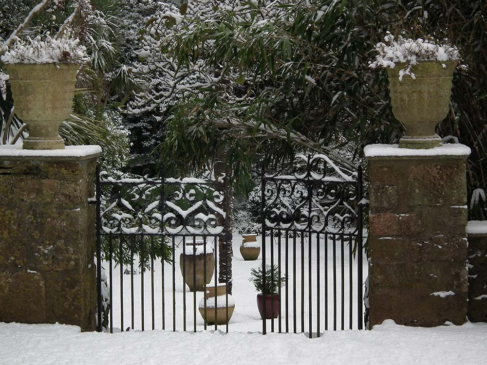 Gates to the Sunken Lawn in the snow