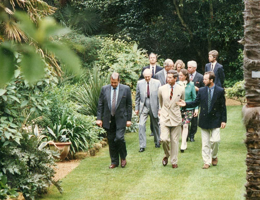 Head Gardener Stephen Griffith shows the Prince of Wales around Abbotsbury Subtropical Gardens