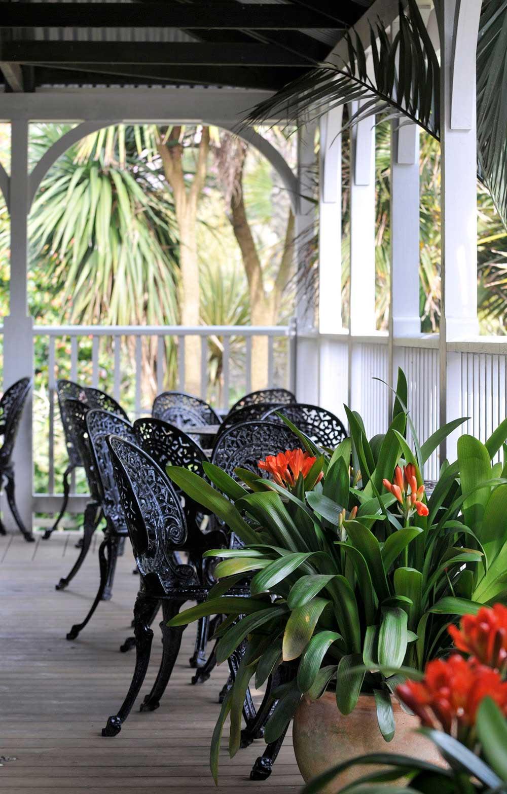 The veranda of the Colonial Restaurant