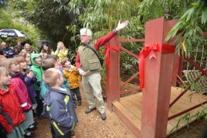 Roy Lancaster opening the Rope Bridge