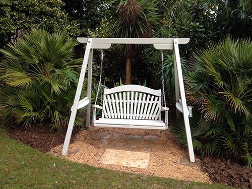 Sitting Spiritually swing seats at Abbotsbury Subtropical Gardens