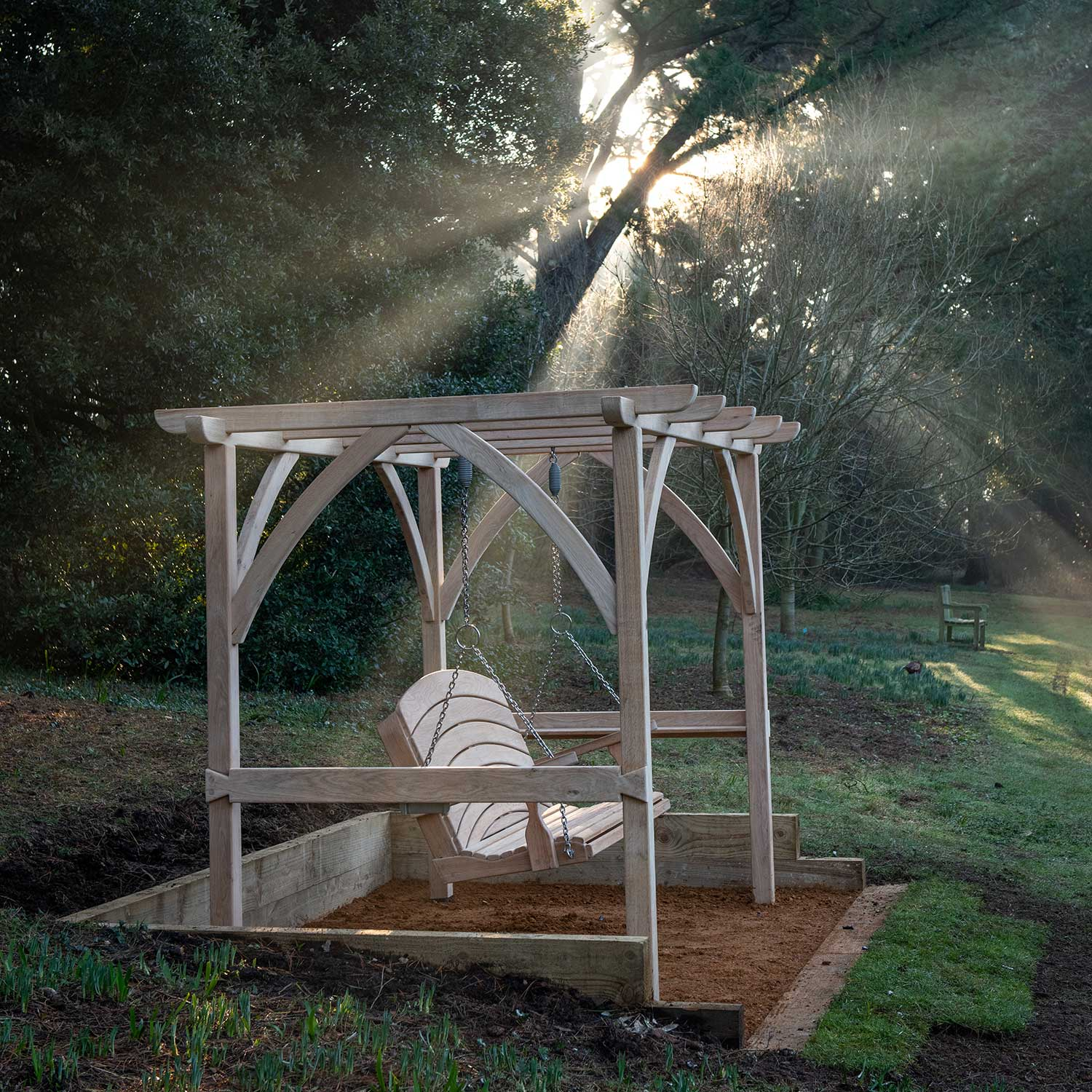 Sitting Spiritually Swing Seat in the arboretum at Abbotsbury Subtropical Gardens