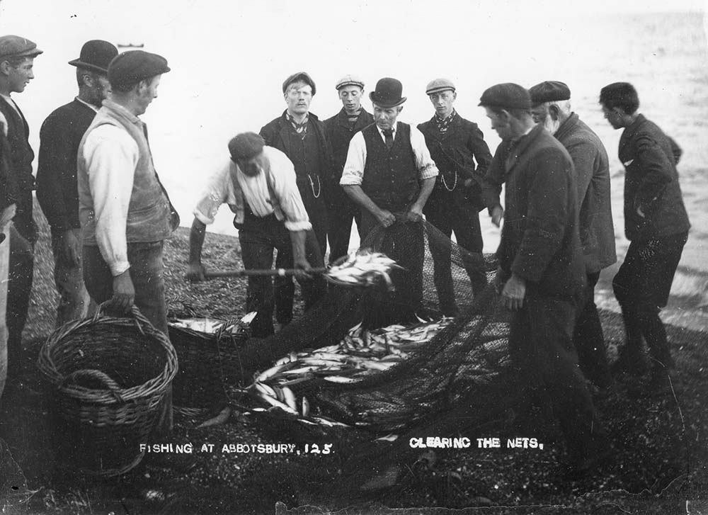 Fishermen at Abbotsbury, photographed in 1900