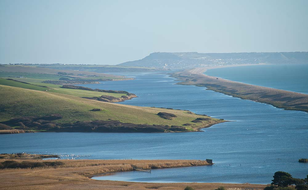 View From The Jurassic Coast Lookout, With Abbotsbury Swannery, The Fleet And Portland In The Distance