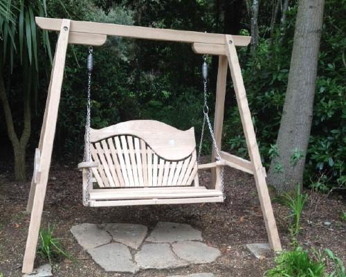 Sitting Spiritually swing seats at Abbotsbury Subtropical Gardens