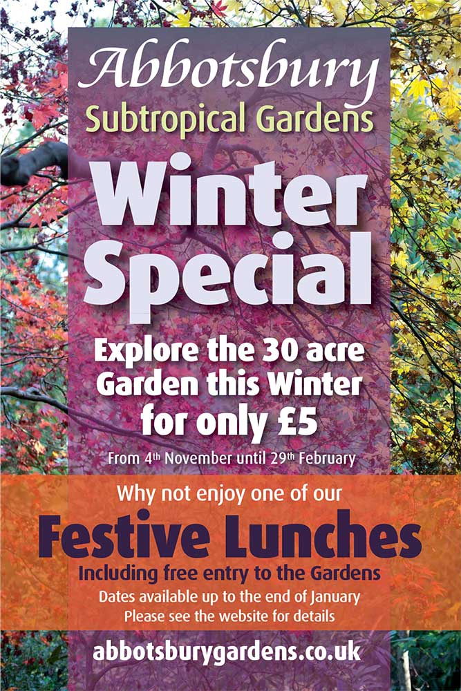 Abbotsbury Subtropical Gardens winter special offer and festive lunches poster