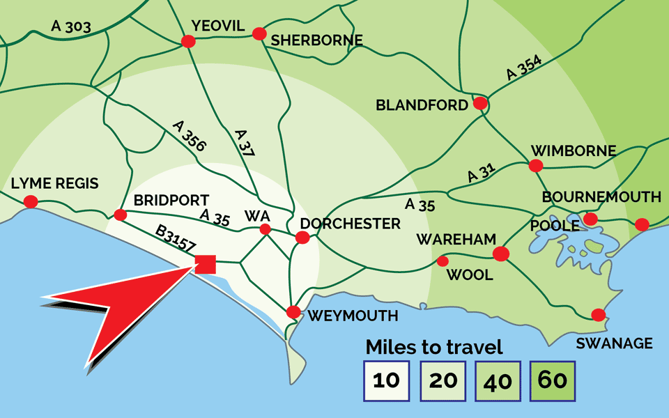 Distance map of Abbotsbury Swannery